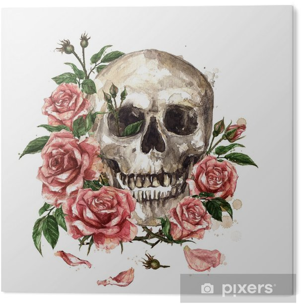 Human Skull surrounded by Flowers. Watercolor Illustration. Acrylic Print - Culture and Religion