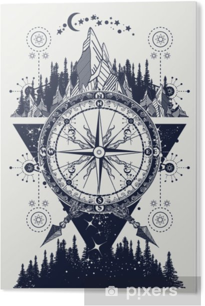Mountains and antique compass tattoo art. Adventure, travel Acrylic Print - Hobbies and Leisure