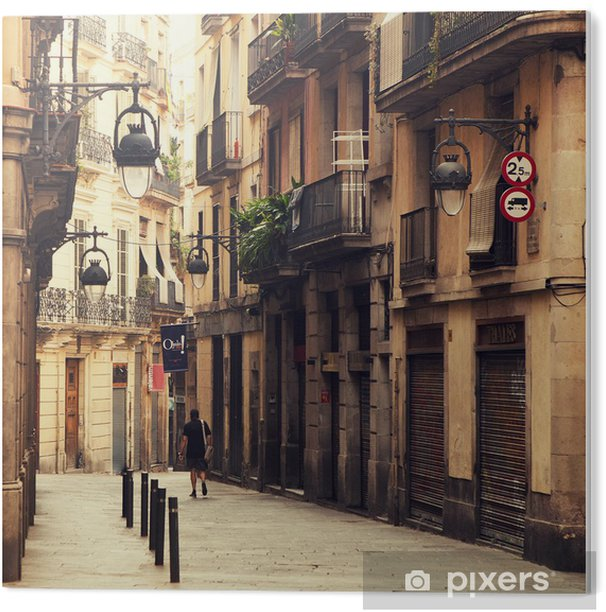 Street in gothic quarter in Barcelona. Acrylic Print - Themes