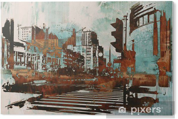 urban cityscape with abstract grunge,illustration painting Acrylic Print - Hobbies and Leisure