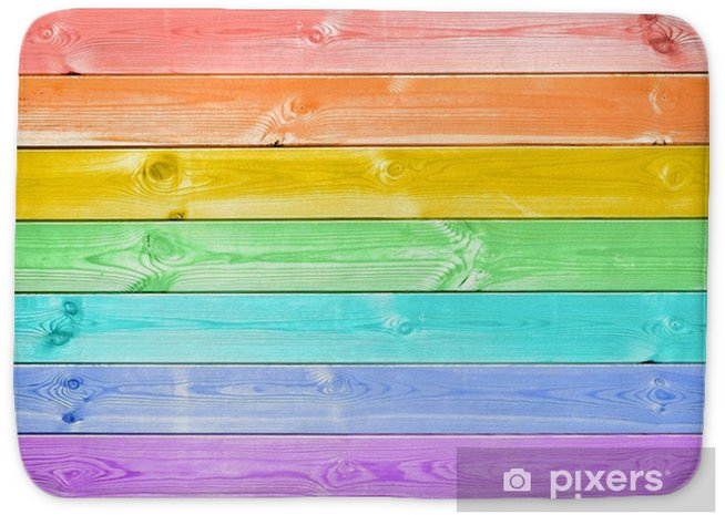 Alfombrilla de baño Arco iris colorido pastel pintado fondo de tablones de madera - Recursos gráficos