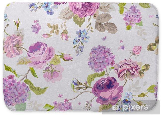 Alfombrilla de baño El resorte florece el fondo - sin patrón floral elegante lamentable - Plantas y flores