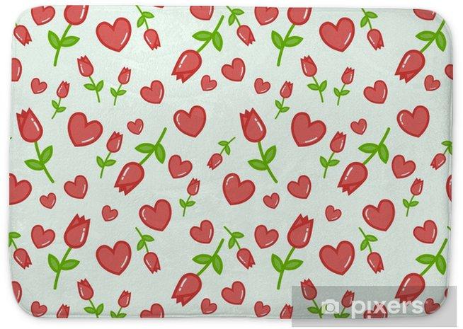 Alfombrilla De Baño Patrón De Vector Transparente Con Fondo Blanco Tulipanes De Color Rosa Fondo Transparente Floral Para Vestido Fabricación