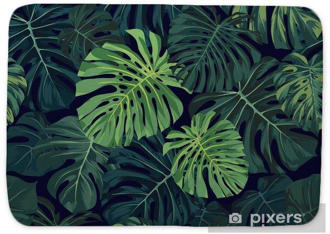 Alfombrilla de baño Patrón tropical de vector transparente con hojas de palma monstera verde sobre fondo oscuro. diseño exótico de la tela hawaiana. - Plantas y flores