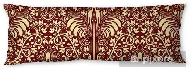 Almohada larga Damasco sin fisuras patrón repetitivo fondo. borgoña ornamento floral de marfil en estilo barroco. - Recursos gráficos