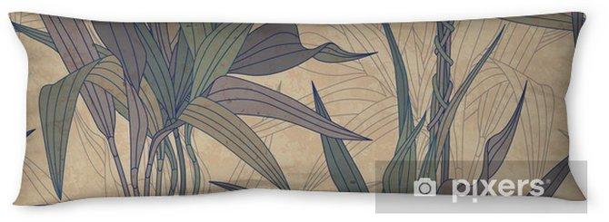 Almohada larga Las hojas sobre un fondo de papel viejo -