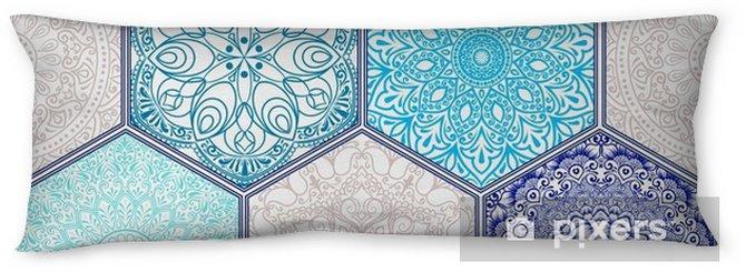 Almohada larga Patrón en el estilo de patchwork floral colorido - Recursos gráficos