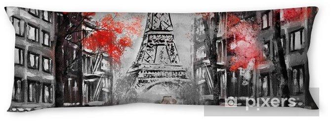 Almohada larga Pintura al óleo, parís. paisaje de la ciudad europea. Francia, fondo de pantalla, torre eiffel. negro, blanco y rojo, arte moderno. pareja bajo un paraguas en la calle - Viajes