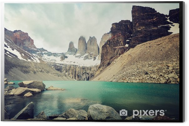 Torres del paine national park, väri värillinen kuva, patagonia, chile. Alumiinitaulu (Dibond) - Matkailu