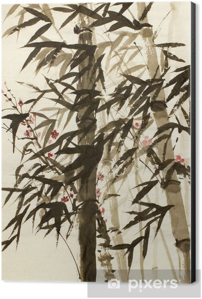 bamboo trees and plums branch Aluminium Print (Dibond) - Plants and Flowers