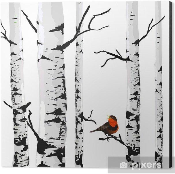 Bird of birches, vector drawing with editable elements. Aluminium Print (Dibond) - Business