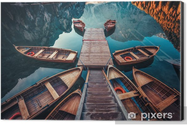 Boats on a lake in Italy Aluminium Print (Dibond) - Landscapes