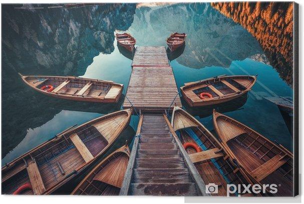 Boats on a lake in Italy Aluminium Print (Dibond) - Landscapes