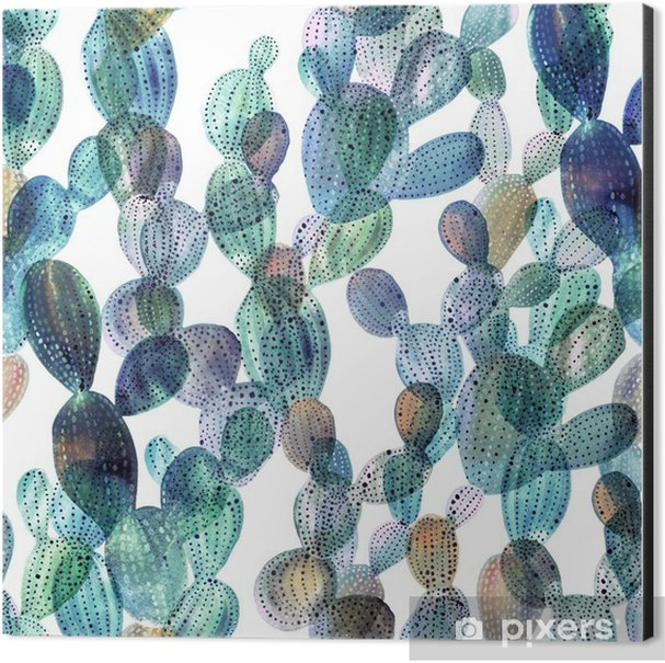 Cactus pattern in watercolor style. Aluminium Print (Dibond) - Plants and Flowers