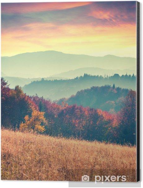 Colorful autumn sunrise in the Carpathian mountains Aluminium Print (Dibond) - Landscapes