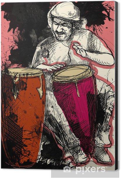conga player - a hand drawn grunge illustration Aluminium Print (Dibond) - Entertainment