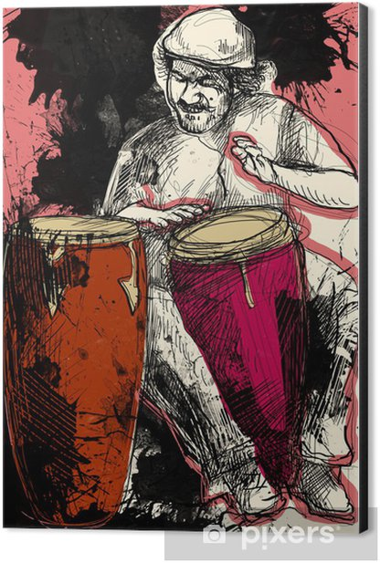 conga player - a hand drawn grunge illustration Aluminium Print (Dibond) - Entertainment