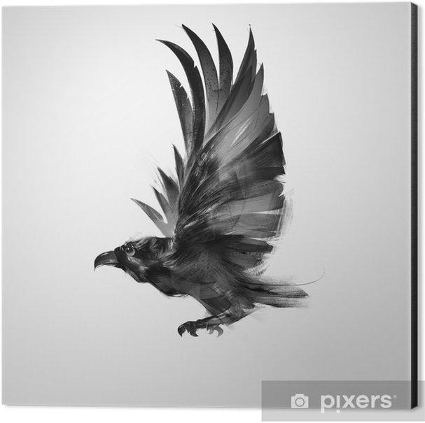 isolated graphically flying bird black crow Aluminium Print (Dibond) - Animals