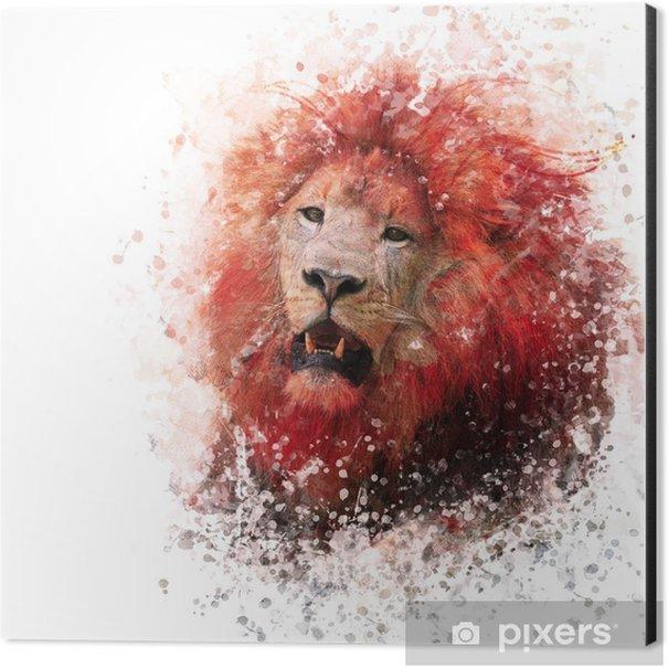 Lion Head watercolor Aluminium Print (Dibond) - Animals