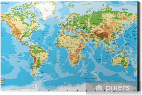 Physical map of the world Aluminium Print (Dibond) - Other