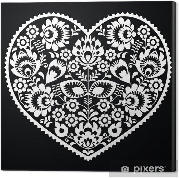 Polish white folk art heart pattern on black - wzory lowickie Aluminium Print (Dibond) - Styles