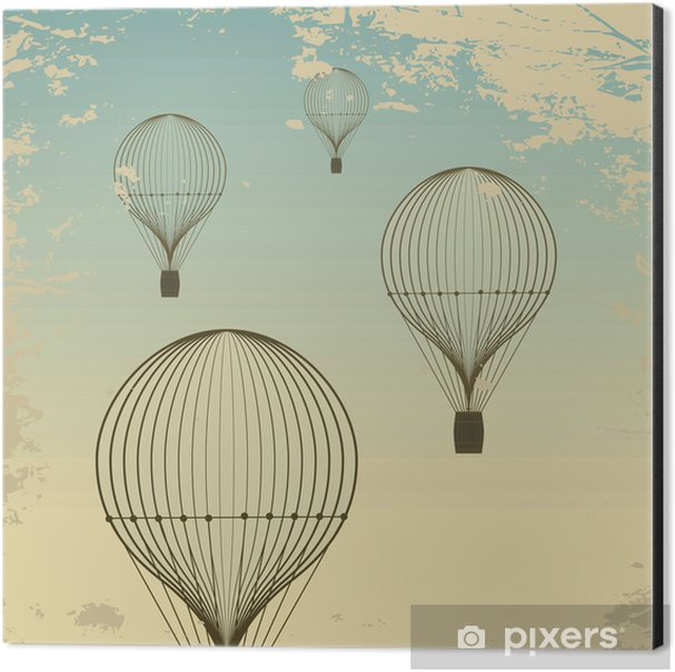 Retro hot air balloon sky background old paper texture. Vintage Aluminium Print (Dibond) - Styles