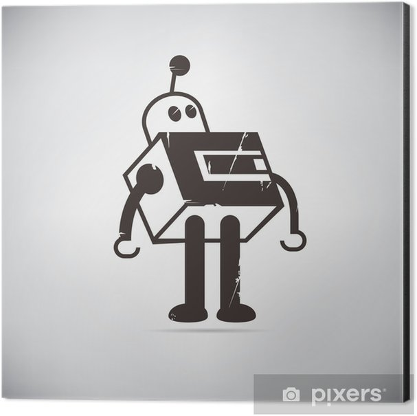 retro robot cartoon Aluminium Print (Dibond) - Hobbies and Leisure