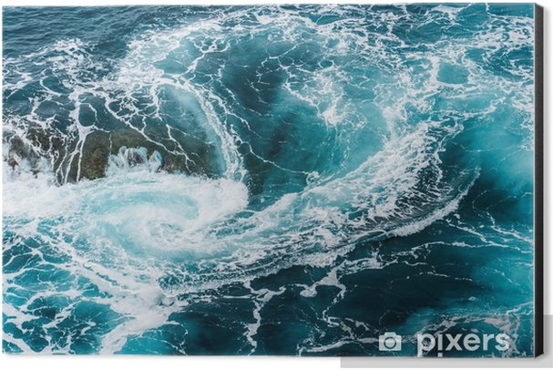 vertiginous, swirling foamy water waves at the ocean photographed from above Aluminium Print (Dibond) - Landscapes