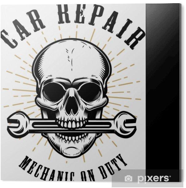 Aluminium Print Auto reparatie. menselijke schedel met sleutel in de mond. - Transport