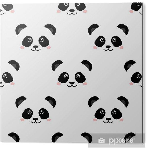 Aluminium Print Cute panda gezicht. naadloos behang - Dieren