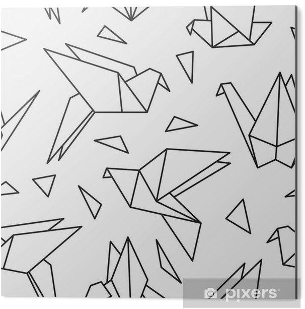 Aluminium Print Naadloos patroon met origami vogels. Kan gebruikt worden voor desktop wallpaper of frame voor een wandkleed of poster, voor patroonvullingen, oppervlaktestructuren, web pagina-achtergronden, textiel en nog veel meer. - Grafische Bronnen