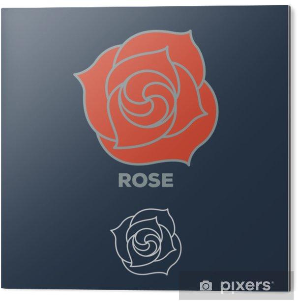 Aluminium Print Rose bloem logo vector - Bloemen en Planten