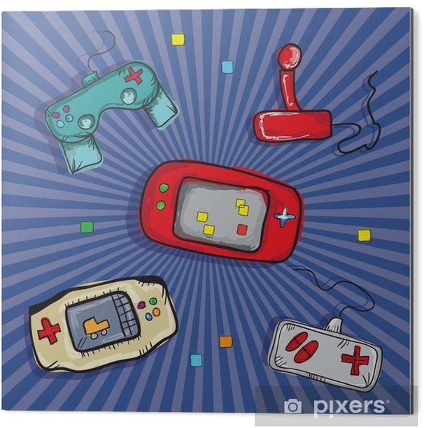 Aluminium Print Video Games Iconen - Electronisch