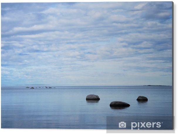 Aluminiumsbilde Stener ved kysten i en rolig bukt - Lanskap