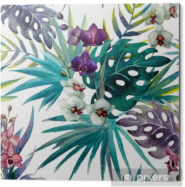 Aluminiumtavla Mönster orkidé hibiskus lämnar vattenfärg tropikerna - iStaging