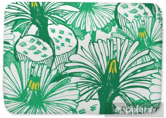Badmat Botanische groene achtergrond. - Bloemen en Planten