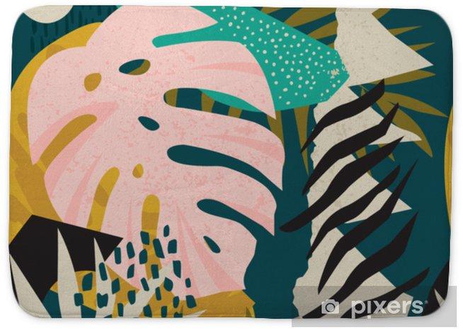 Badmat Collage hedendaagse bloemen Hawaiiaanse patroon vector. naadloos oppervlak ontwerp. - Hobby's en Vrije tijd
