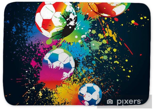 Badmat De kleurrijke voetballen op een zwarte achtergrond - Tekens en Symbolen