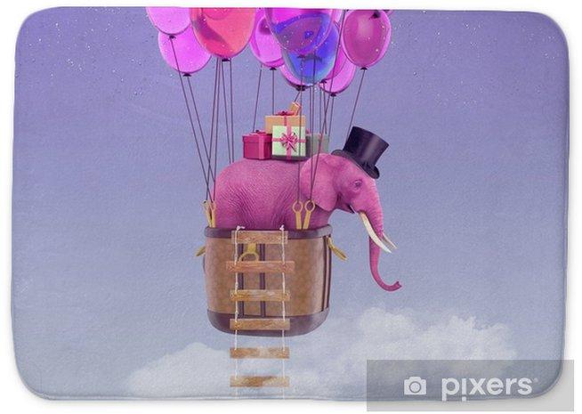 Badmat Een roze olifant vliegt op ballonnen door de lucht. romantische 3d illustratie voor kaarten, uitnodigingen voor verjaardag, jubileum en andere evenementen - Gevoelens, Emoties en Staten van Geest