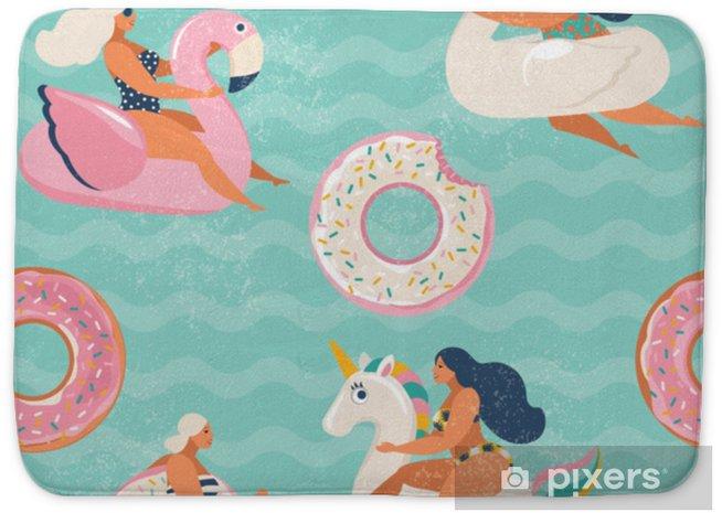 Badmat Flamingo, eenhoorn, zwaan en zoete donut opblaasbare zwembad drijft vector naadloze patroon. - Hobby's en Vrije tijd