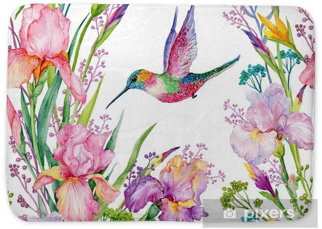 Badmat Iris bloemen en kolibries .watercolor naadloos patroon - Bloemen en Planten