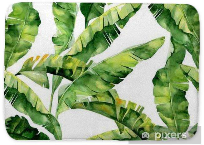 Badmat Naadloze aquarel illustratie van tropische bladeren, dichte jungle. Patroon met tropisch zomermotief kan gebruikt worden als achtergrondtextuur, verpakkingspapier, textiel, behangontwerp. Banaanpalmbladeren - Grafische bronnen