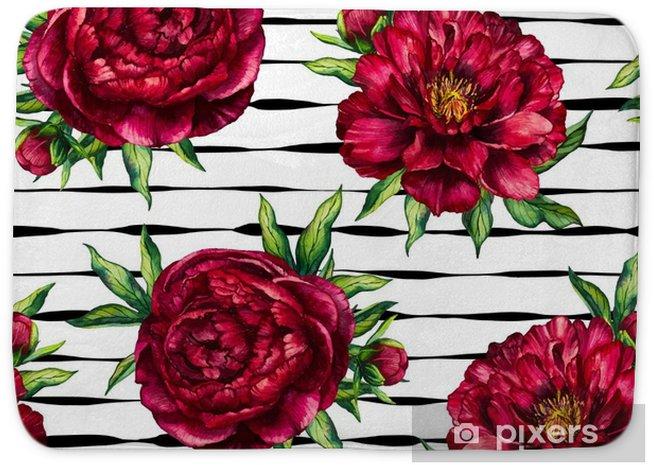 Badmat Naadloze patroon aquarel bloem pioen marsala op zwart gestreepte achtergrond, aquarel bloemen en gestreept naadloze achtergrond van rode pioen voor womens dag, bruiloft, kaart, vakantie, textiel, uitnodiging - Bloemen en Planten