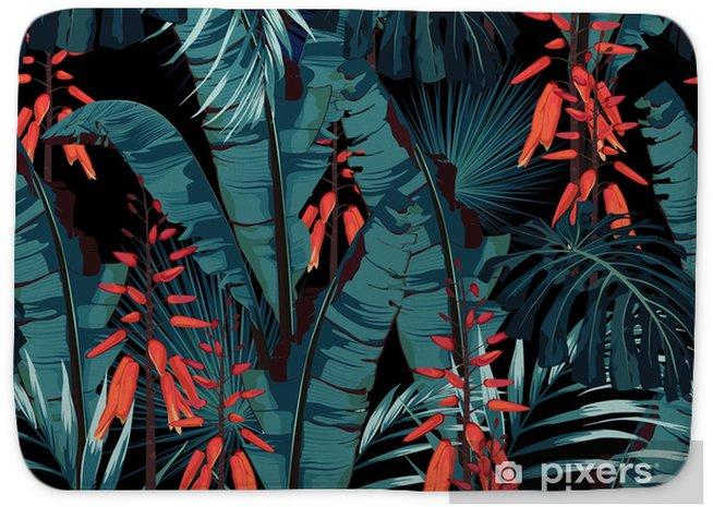 Badmat Naadloze patroon floral aquarel stijl ontwerp: succulent in bloei met oranje bloemen en palm en bananen bladeren. modern helder zomerprintontwerp. zwarte achtergrondafdrukken. - Bloemen en Planten