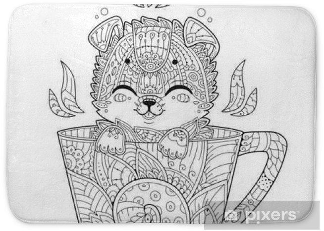 Printen Kleurplaten Herfst Volwassenen.Badmat Puppy In De Beker Volwassen Antistress Kleurplaat Met Hond In Zentanglestijl Doodle Dier Vector Illustratie Voor T Shirt Print Tattoo