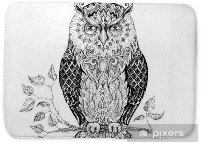Badmat Tekening uil met mooie patronen - Dieren