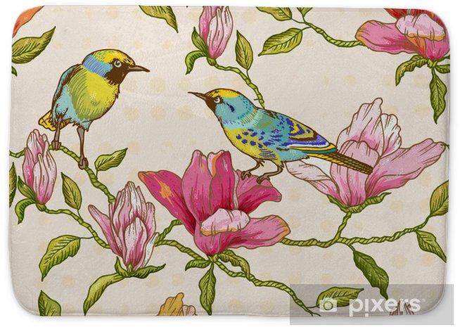 Badmat Uitstekende Naadloze Achtergrond - Bloemen en Vogels - Seizoenen