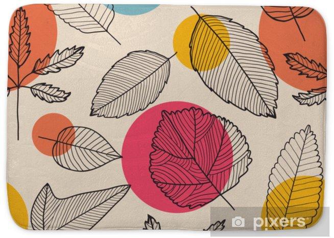 Badmat Vector verlaat naadloze patroon, hand getrokken herfst achtergrond. - Grafische Bronnen
