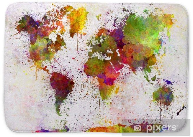 Badmat Wereldkaart in aquarel - iStaging