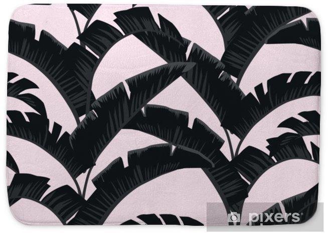 Badmat Zwart witte bananenbladeren lichtroze achtergrond - Bloemen en Planten